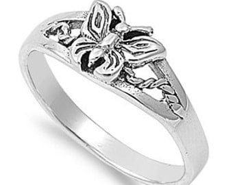 Butterfly Filigree Ring 7MM Sterling Silver 925