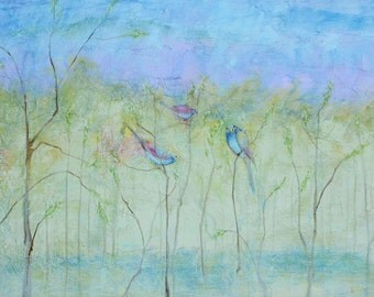 Three Birds in Spring.  Giclee Print on Canvas