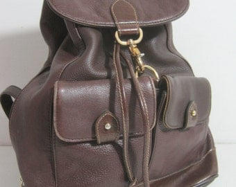 """CARRIAGE HOUSE Leather Backpack 14""""x13""""3.5"""" Vintage"""