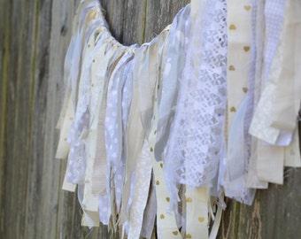 Cream and Gray Fabric Garland/ Banner
