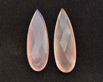 Pink Chalcedony Loose Gemstone Long Drop Pair 11x32 mm
