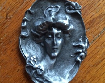 Victorian Lady Solid Pewter Pendant