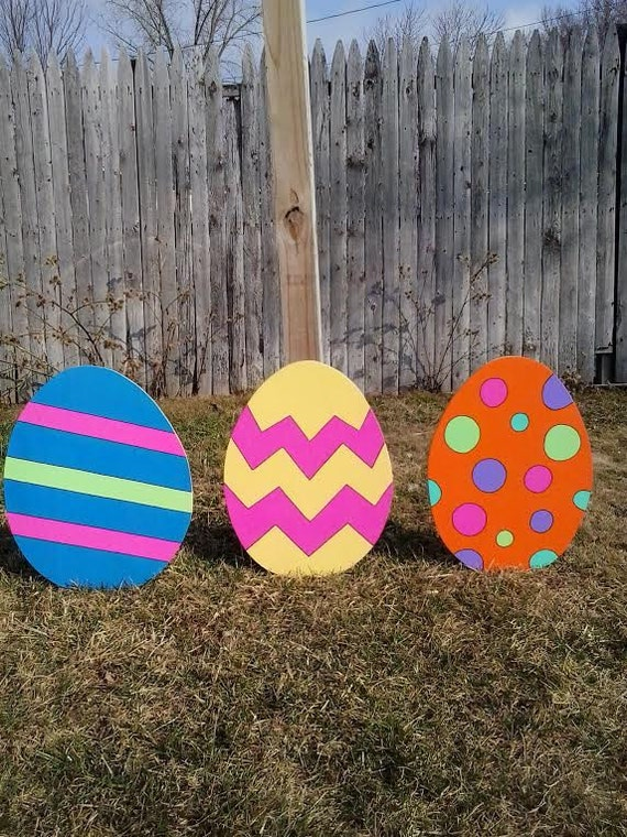easter eggs outdoor wood yard art lawn decoration. Black Bedroom Furniture Sets. Home Design Ideas