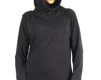Pixie Hoody Designer Hooded Jumper Zig Zag Overlocked Jumper Asymmetrical Jersey, Elfin Festival Tribal  clothing