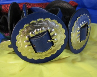 Concho Belt Vintage Designer Ruza Made USA Electric Blue Size Large. Boho up to 37 inches. Country Punk Belt. Over 3 inches wide Unique