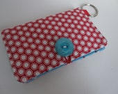Fabric Card Holder with Key Ring made with Stampin' Up Summer Smooches Fabric, custom for Rachel