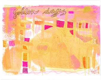 golden days: original painting, mixed media, on paper on canvas (24x30 cm)