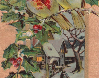 C 1910 New Year Jan 1 Antique Postcard Birds,Embossed,Holly,Snowy Setting,Gold Trim