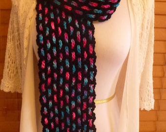 "Neon Cotton Candy on Black Mesh Crochet Scarf - ""Night Life"" Long Scarf"
