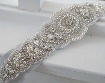 Wedding Belt, Bridal Belt, Sash Belt, Crystal Rhinestone & Off White Pearls - Style 153