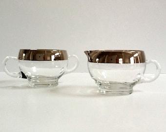 Mid Century Modern Silver Rim Sugar Bowl & Creamer, Wide Silver Band, Clear Glass, Retro Serving