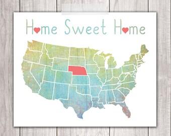 75% OFF SALE - Home Sweet Home - 8x10 Nebraska Print, Art Print, Home Decor, Printable Home Decor, Nebraska Printable, Printable Art