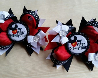 My First Disney Trip girl hair bows. Set of 2. Perfect for piggy tails :) 1st disney vacation