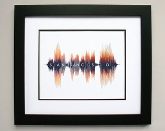 San Francisco - Sound Wave & Voice Art City Print - The Perfect Gift for any California, Bay Area Resident