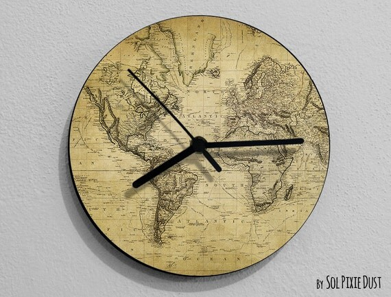 vintage old map compass wall clock