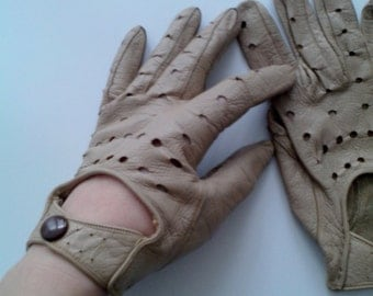 womens leather driving gloves vintage German automobile race driver gloves ladies leather driving brown gloves size small to medium