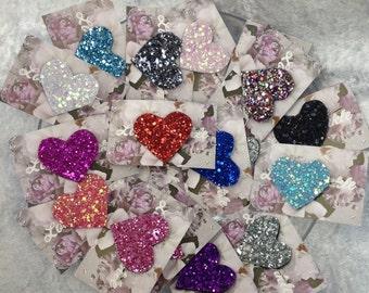 Glitter Heart Hair Grip, heart hair clip, glitter hair clip, heart hair clip, sparkly hair grip, party hair clip, prom wedding hairclip