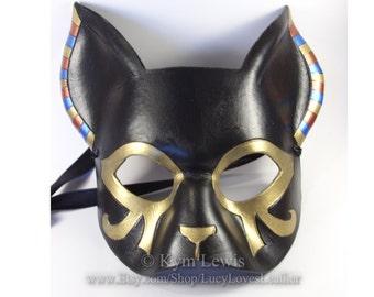 Egyptian Cat, Masquerade Mask, Gold and Black, Cat Goddess, Black Leather, Prom Mask, Cosplay Costume, Fursona Costume
