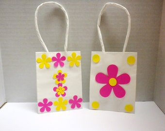 Flowery Gift Bags-Gift bags, Flowers, Pink,Yellow, Mini Favor Paper Bags, Favor Bags,Gifts, Showers,Weddings, Party Bags-GBG6