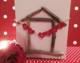 Handmade Driftwood Beach Hut Valentines Card