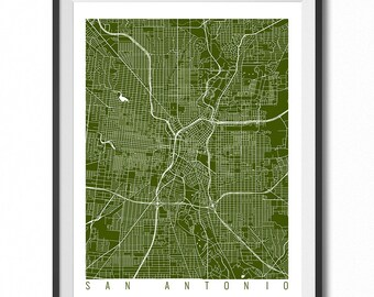 SAN ANTONIO Map Art Print / Texas Poster / San Antonio Wall Art Decor / Choose Size and Color