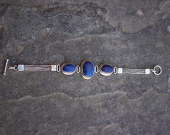 Vintage Sterling Silver and Lapis/Sodalite Bracelet with Braided Chain