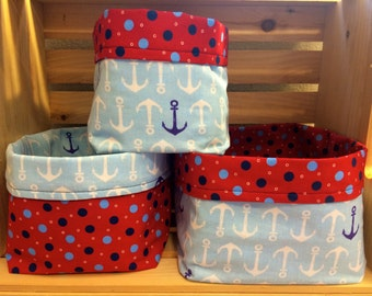Anchors & Dots Fabric Bins