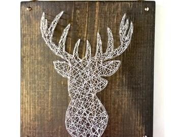 White Deer Silhouette String Art