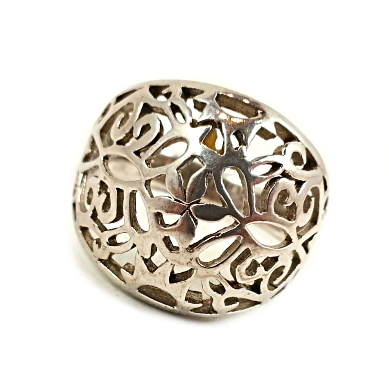 filigree sterling silver ring vintage size 9 by romeoetjuliet