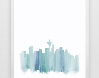 Seattle Skyline Watercolor Print