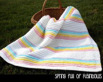 Spring Full of Rainbows Baby Blanket Knitting Pattern