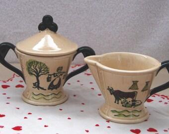 Vintage 1950's Metlox Poppytrail Homestead Provincial Creamer and Sugar Bowl Set