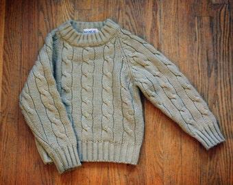 Kids Izod Sweater // Vintage Tan Beige Cable Knit