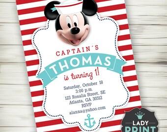 Mickey Disney Sailor Boy Birthday Invitation. Nautical Printable invitation. Digital File Customized Party Invitation