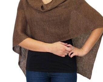Chocolate Brown Wool Poncho in Lighweight Merino Wool