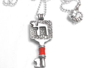 Silver Key Necklace Red Kabbalah String ה and 5 Engraved and Ball Chain For Men and Women - Handmade per Order