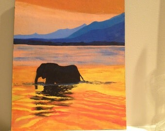 Elephant in water, mountain landscape painting