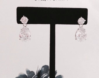 Crystal Drop Wedding Earrings, Bridal Earrings, Drop Wedding Earrings, Rhinestone Bridal Earrings
