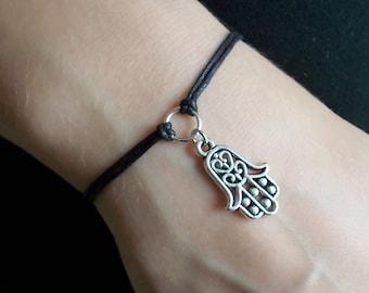 silver hamsa bracelet black cord bracelet hamsa hand bracelet fashion jewellery handmade bracelet hamsa charm bracelet gift for women
