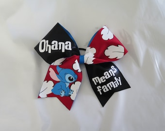 "Ohana Means Family - Lilo and Stitch ""TEXAS/CHEER"" LARGE Size bow"