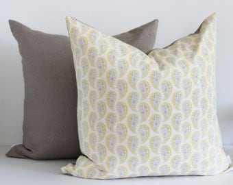 Yellow and Gray Modern Paisley Pillow Cover | s/f Designs