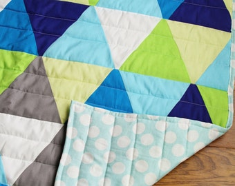 Blues, Greens, & Grays Triangle Baby Quilt
