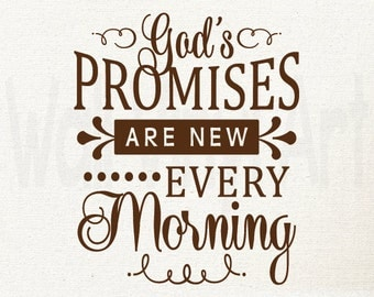 Gods promises are new every morning Vinyl Decal, Vinyl lettering, Christian wall decor, Christian Saying