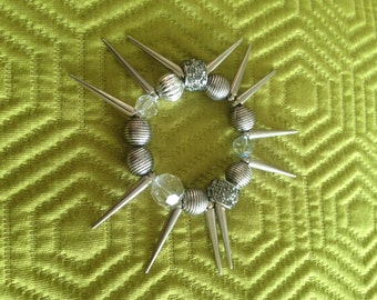 Silver spike and beaded bracelet