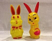 Vintage Rosbro Bunnies, Rabbits  Easter Basket Toy, E Rosen Candy Co, Kitschy Toy, Circa 1950s