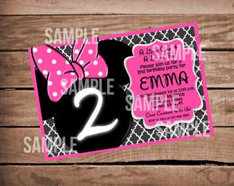 Minnie Mouse Pink Invitation with Grey Quatrefoil