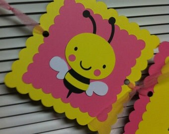 Bumble Bee name banner or Happy Birthday Banner
