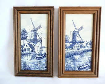Vintage Framed Delft Like Tiles Made in Germany Windmill Scenes Set of 2