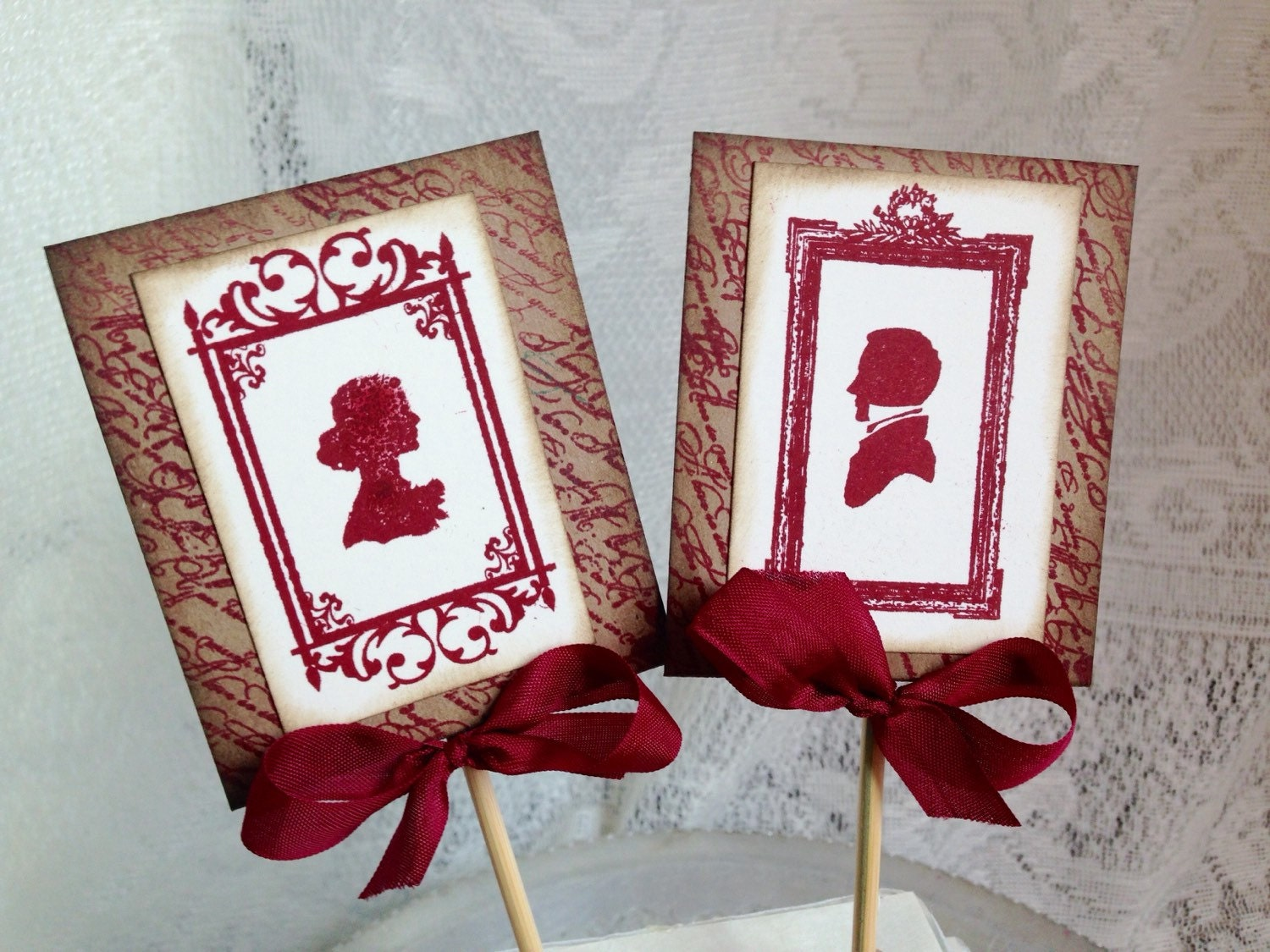 Red Wedding Cake Topper Vintage Wedding Rustic by