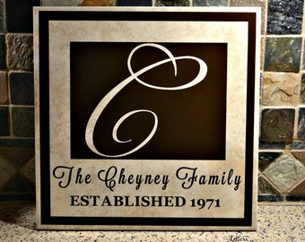 12x12 Family Sign, Family Tile, Personalized Family Sign, Personalized Wedding Gift, Anniversary Gift, Family Established Sign, Couples Gift